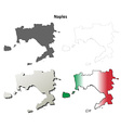 Naples blank detailed outline map set vector image vector image
