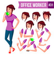 office worker woman happy clerk servant vector image vector image