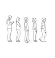 outline men and women queue one after another vector image vector image
