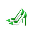 pair of modern heeled shoes multicolored banner vector image