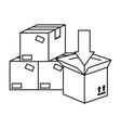 pile packing boxes carton with arrow vector image vector image