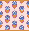 pink pattern with orange hearts and blue flowers vector image