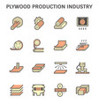 plywood production industry icon set design vector image