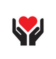 red heart in hands - icon on white background vector image