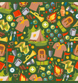 scout camp icons in seamless pattern vector image vector image