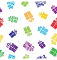 seamless gift pattern boxes on white background vector image vector image
