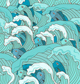 seamless pattern waves and fish vector image