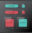 set buttons web glass color red and green vector image vector image