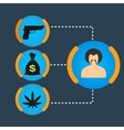 Set Gangster money weapons drugs vector image