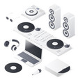 set of dj mix devices isolated on white background vector image