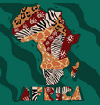 textured map africa hand-drawn ethno pattern vector image