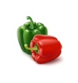 Two Green and Red Bell Peppers on Background vector image