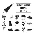 weather set icons in black style big collection vector image vector image