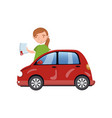 woman standing behind of red car and showing paper vector image vector image