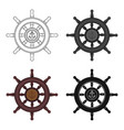 wooden ship steering wheel icon in cartoon style vector image