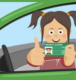 young happy girl showing her new driver license vector image vector image
