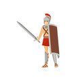 young serious roman warrior with sword in one hand vector image vector image