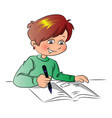 boy writing in book vector image