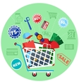 Online shopping cart with goods concept vector image