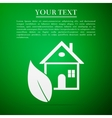 Eco House flat icon on green background vector image