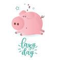 a cute sleeping pink pig vector image vector image