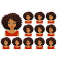 african woman expressions set vector image