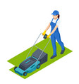 agricultural work woman lawn mower grass cutting vector image