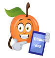 apricot with thank you sign on white background vector image