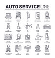 auto service concept thin line icons with flat vector image vector image