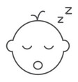 baby boy sleep thin line icon child vector image