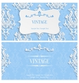 Blue 3d Vintage Invitation Template with vector image