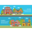 Building School Church Banner Set vector image vector image