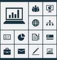 business icons set with statistics circle graph vector image