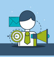 businessman megaphone target and email digital vector image vector image