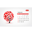calendar 2012 february Art tree design vector image vector image
