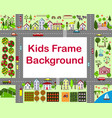 cartoon city frame with houses vector image vector image