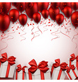 Celebrate red background with balloons vector image