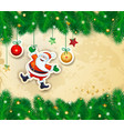 christmas bakground with branches and happy santa vector image vector image