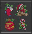Christmas embroidery set vector image vector image