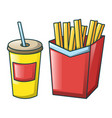 cola and fri icon cartoon style vector image