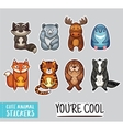 Collection of stickers with cute cartoon animals vector image vector image