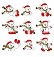 cute christmas snowman set vector image vector image