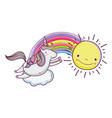 cute fairytale unicorn with rainbow and sun vector image