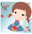 cute girl on the floral spring flower vector image vector image