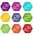 euro dollar euro exchange icon set color vector image vector image