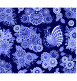 fashion seamless texture with blue stylized floral vector image