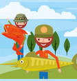 fisherman fishing cartoon vector image vector image
