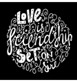 font for frendship black background vector image vector image