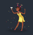 girl having fun at students party vector image