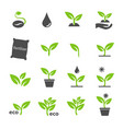 green plant and leave color icons set vector image vector image
